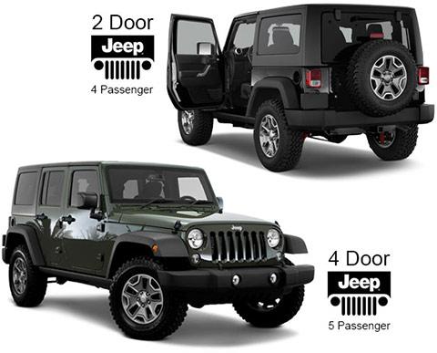 2 door and 4 door Jeeps for rent
