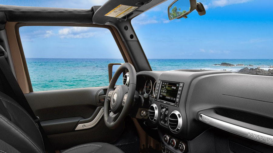 Looking out from the winshield of a Jeep Wrangler in Hawaii