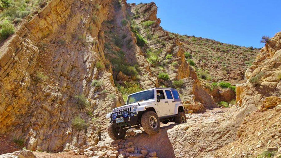 Jeep driving in the rugged canyons of Nevada