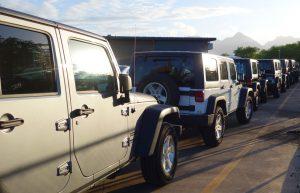 Rental Jeeps lined-up for departure