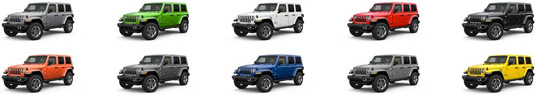 Rainbow assortment of twelve 4 door Jeep Wranglers