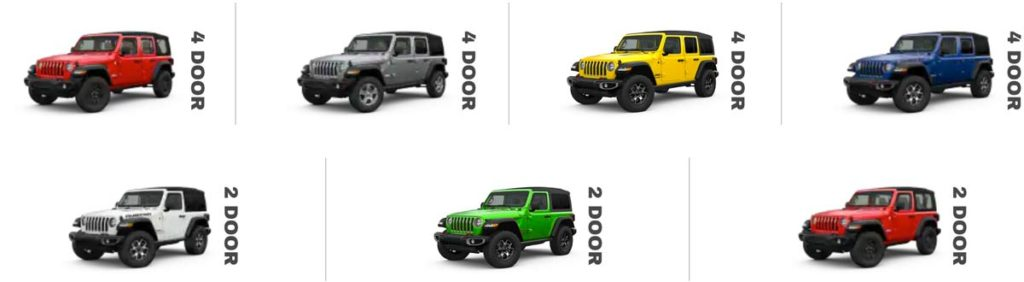 2 and 4 door Jeep fleet