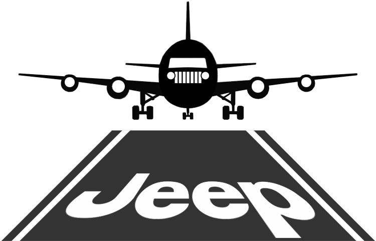 Jeep plane landing at the airport