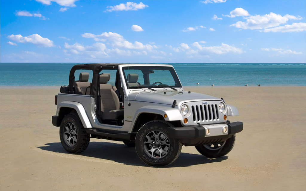 Rented Jeep parked on beach