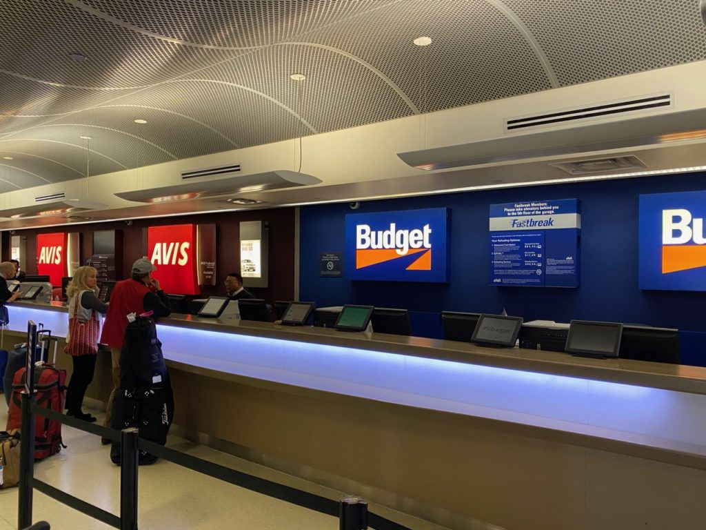 Rental counters at the San Jose airport in California