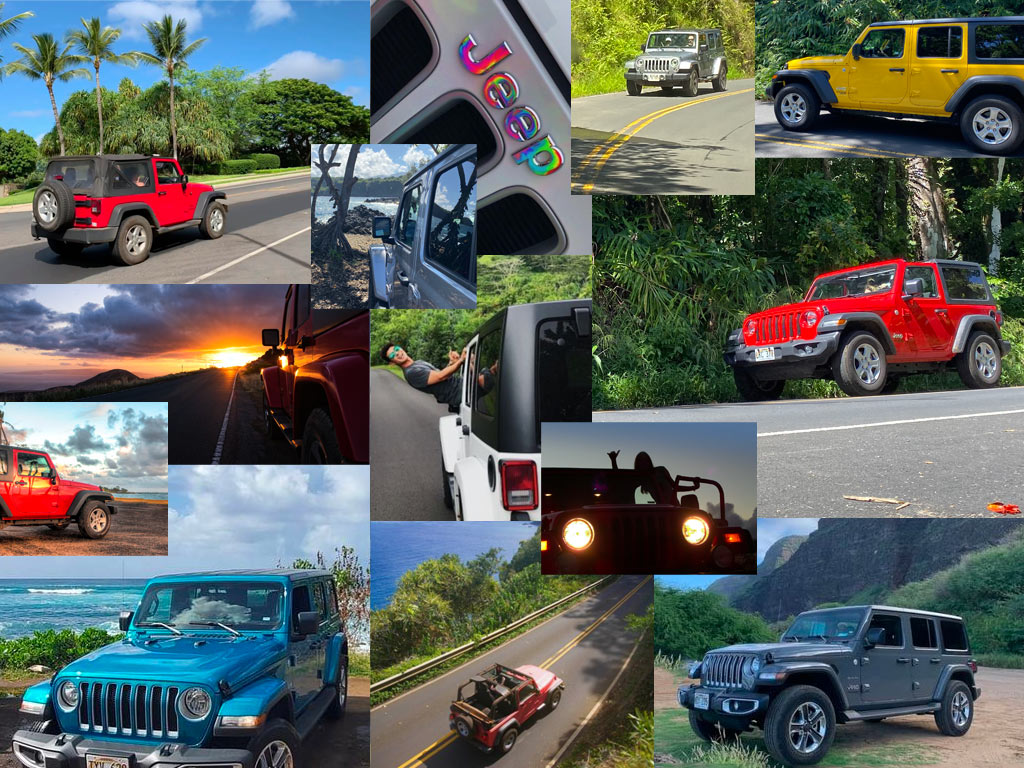 Photo collage from Jeep rental clients