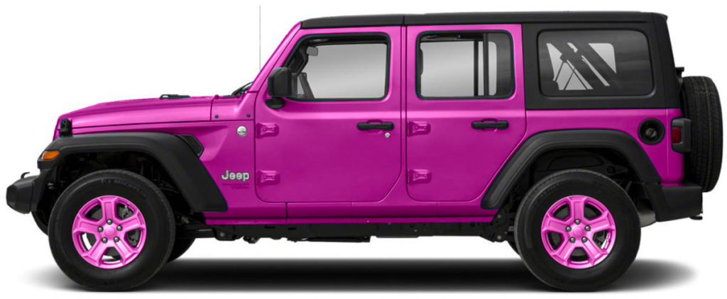 Pink Jeep Wrangler with pink wheels