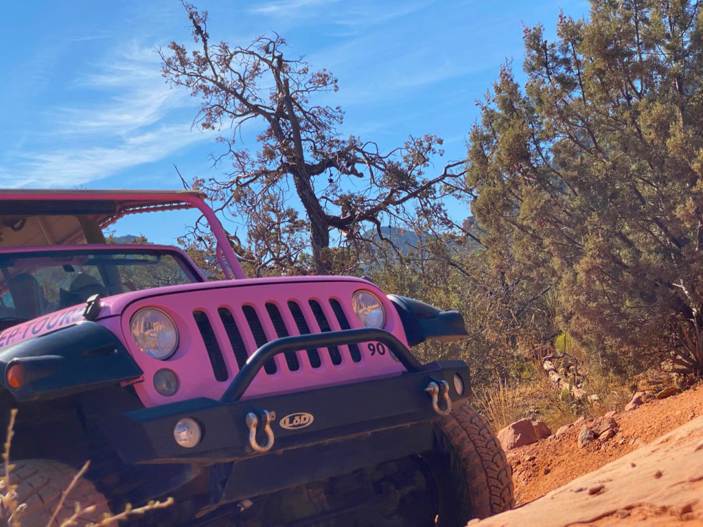 Front of a pink Jeep on Broken Arrow trail