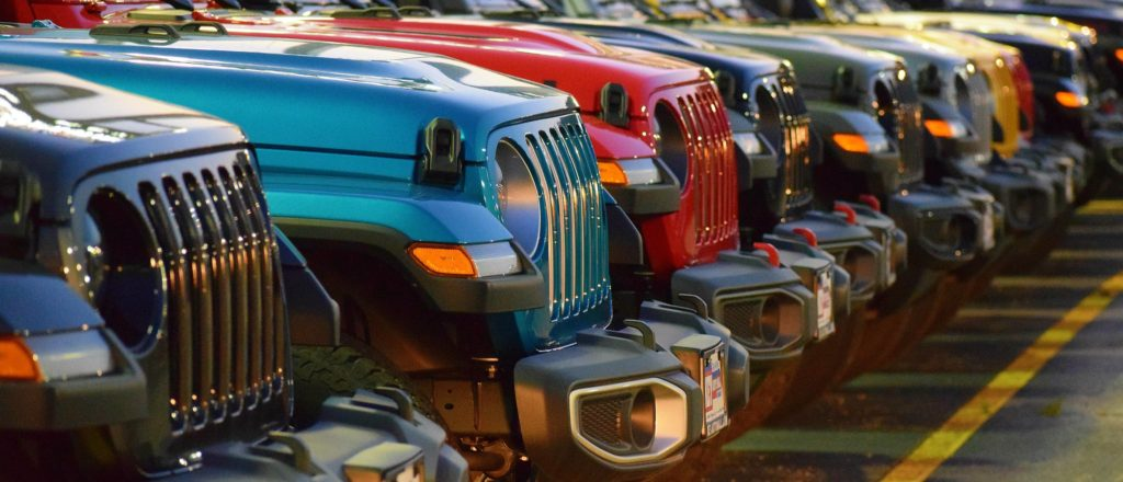 Jeep renal lot with colorful Jeep Wranglers