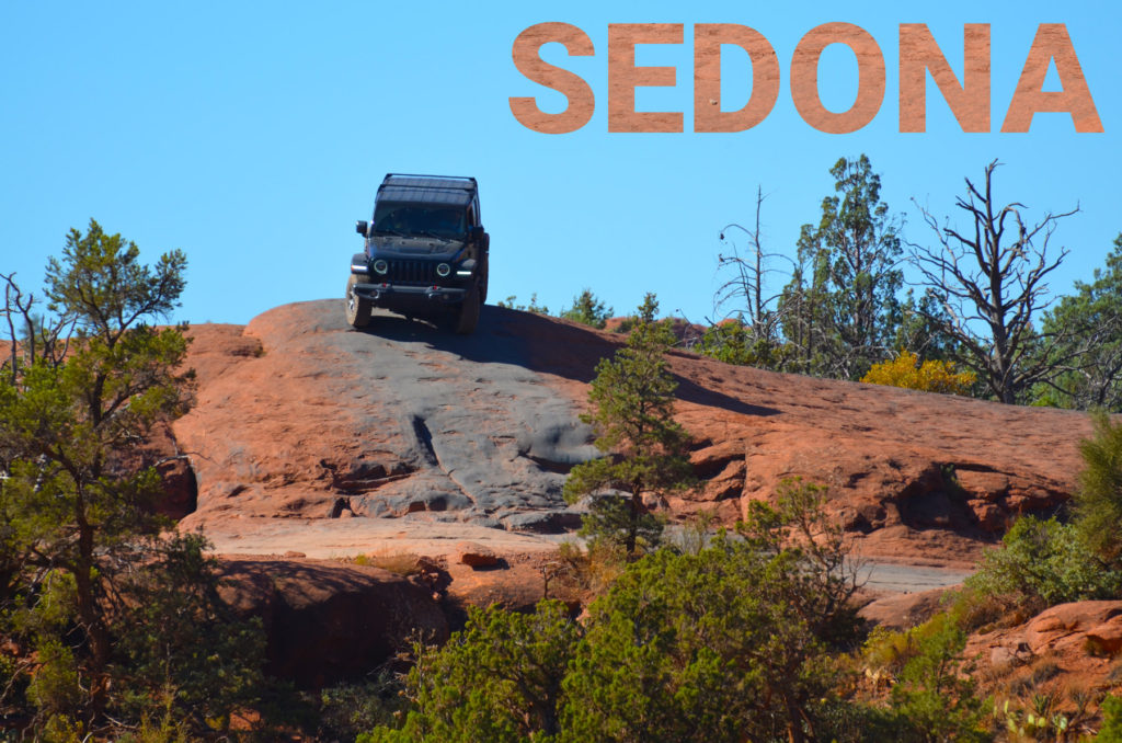 Jeep on the red rocks