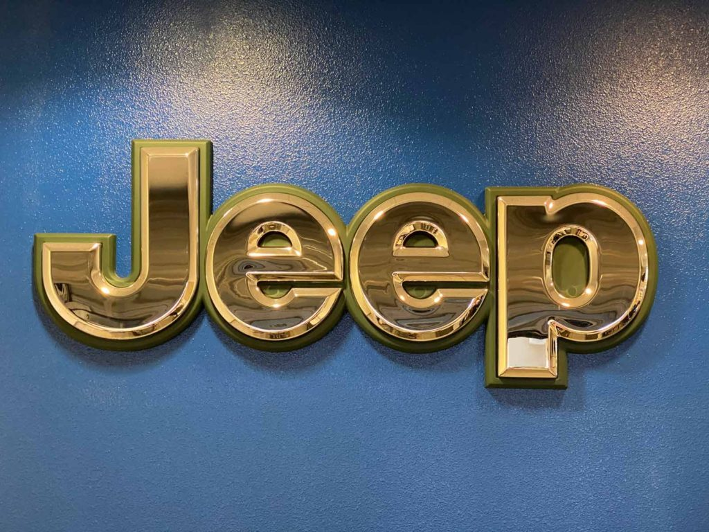 Large Jeep logo 3D sign with mirrored letters