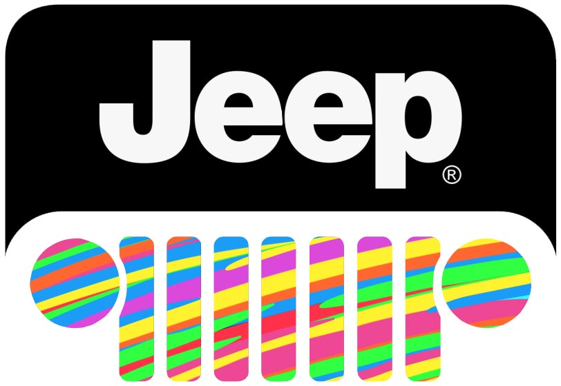 Colorful Jeep grill logo