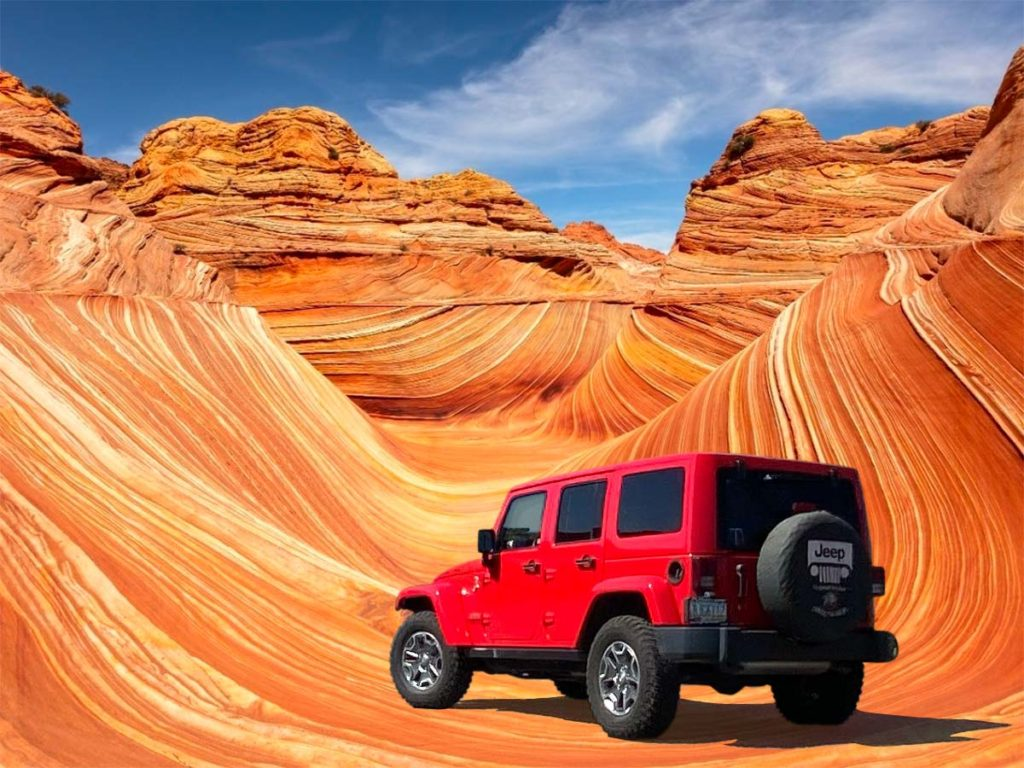 Jeep parked at The Wave