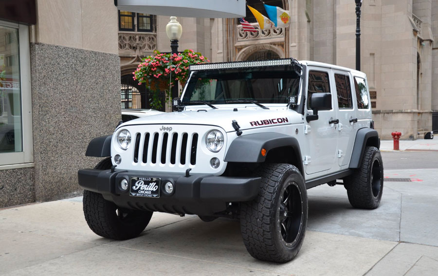 Jeep rental parked in downtown Chicago Illinois